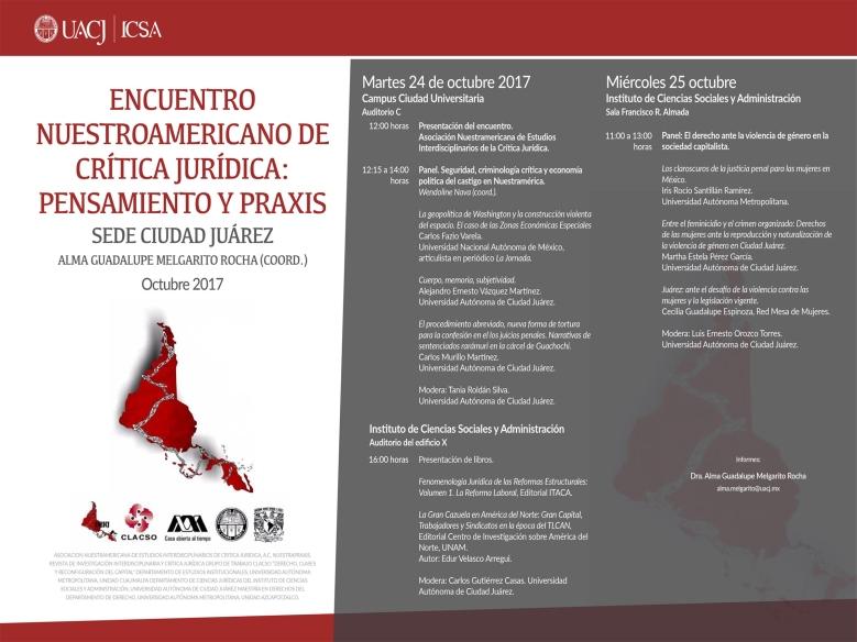 PROGRAMA. CIUDAD JUÁREZ. ENCUENTRO NUESTROAMERICANO DE CRÍTICA JURÍDICA 2017. t