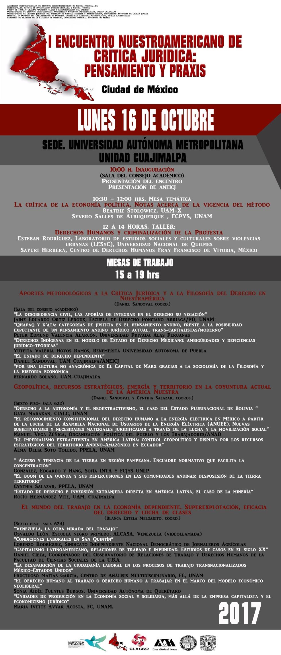 LUNES. ENCUENTOR NUESTROAMERICANO CRÍTICA JURÍDICA 2017