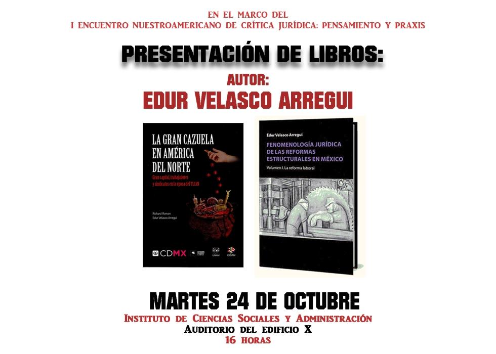 PRESENTACIÓN LIBROS. EDUR VELASCO ARREGUI