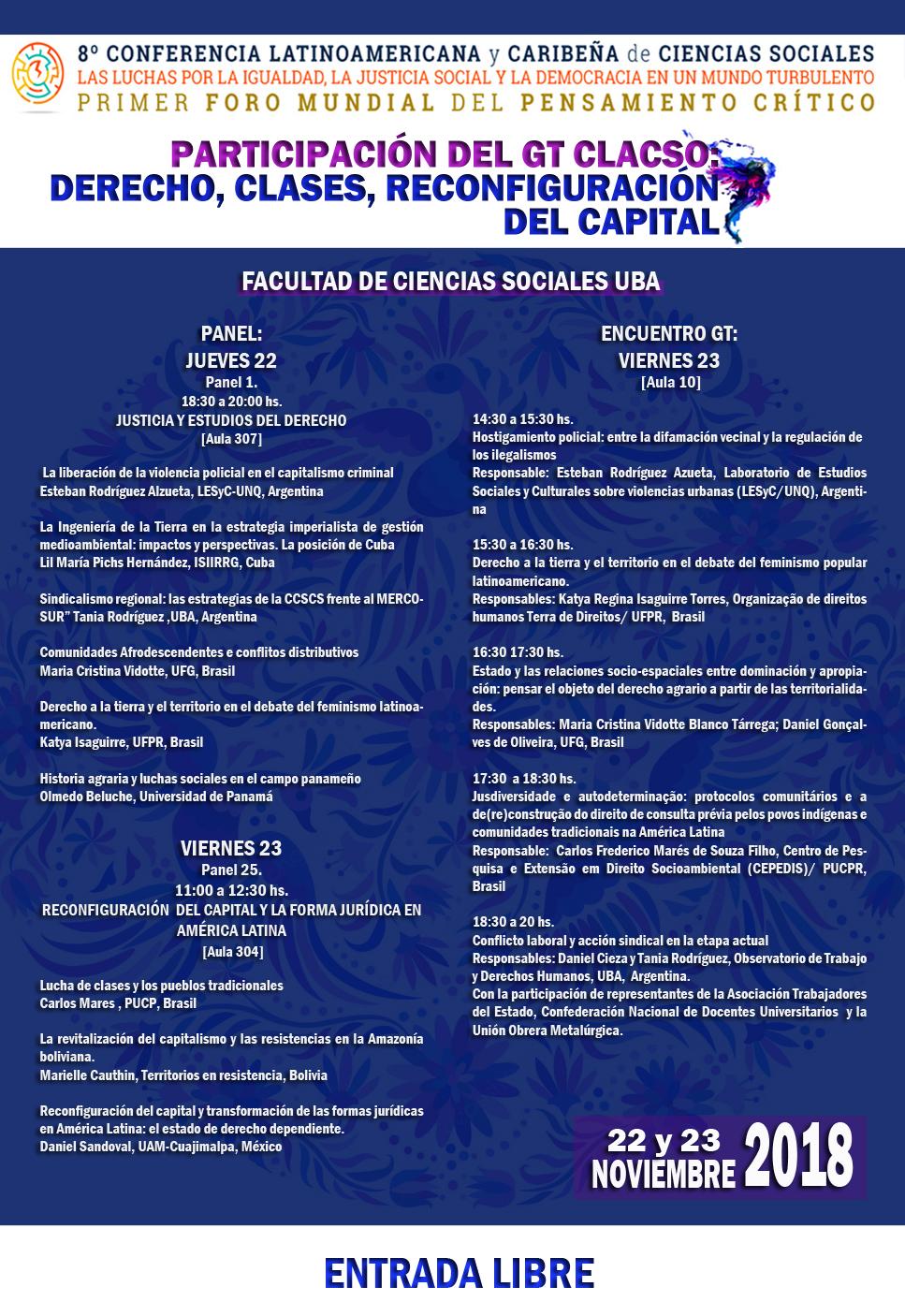 CLACSO 8a CLCCS.derecho, clases, reconfiguración del capital. 2018