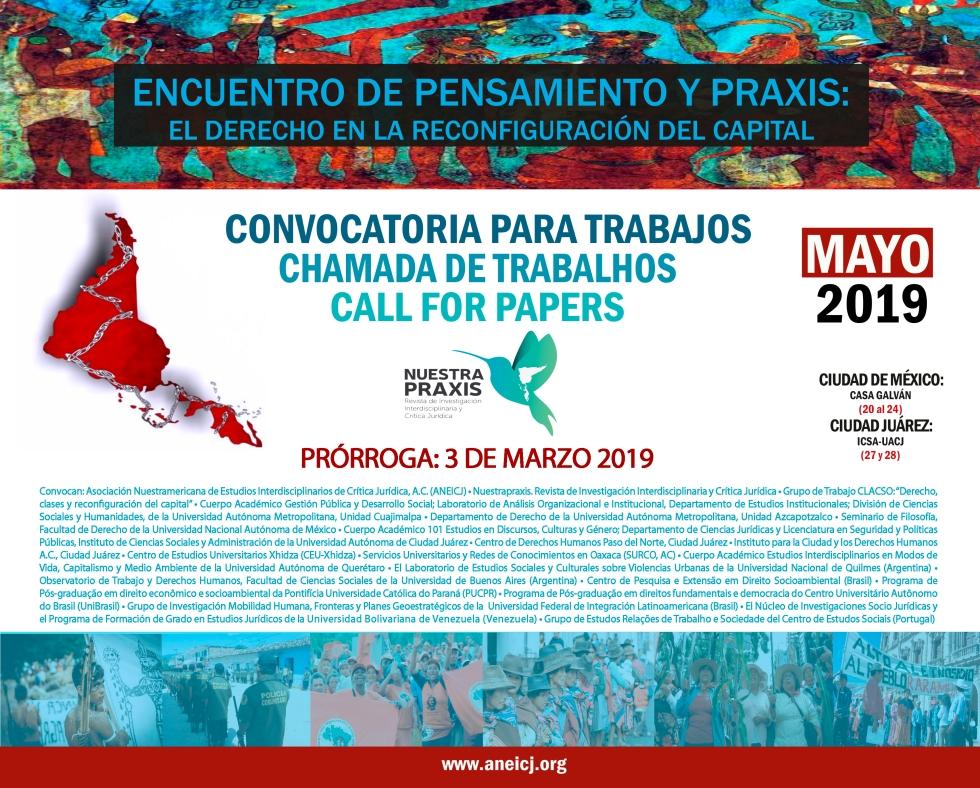 cartel encuentro reconfiguración del capital 2019 PRORROGA